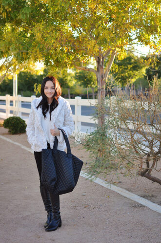 outfits&outings blogger coat top jeans shoes bag fall outfits tote bag faux fur coat knee high boots boots