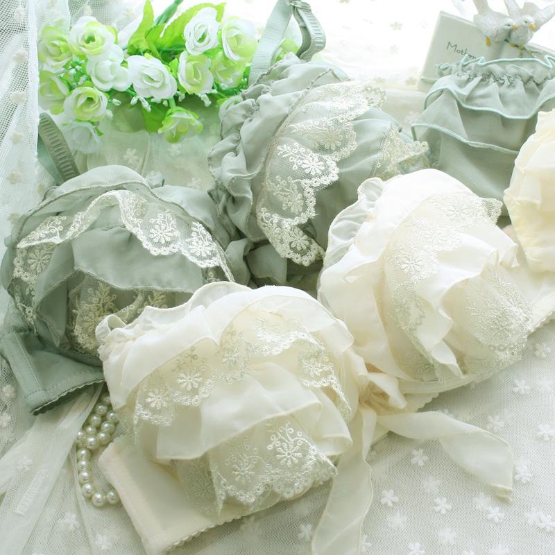 New 2014 chiffon princess sexy lace bra underwear set lingerie women push up bra free shipping
