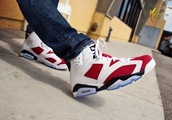 shoes,carmine 6s,red,white,jordans,sneakers