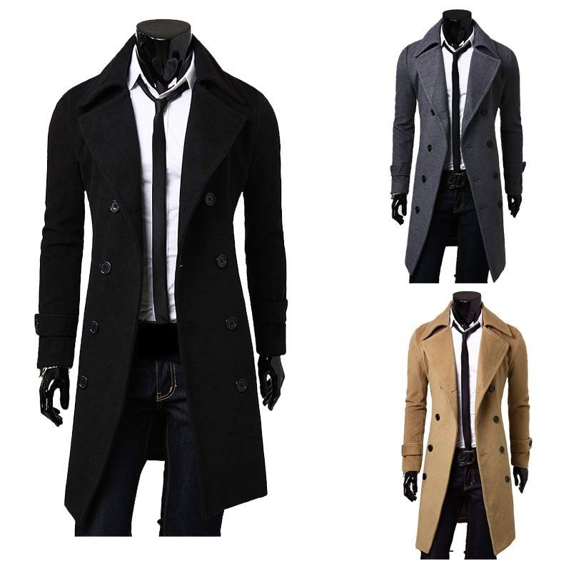 Men's Trench Coat Double Breasted Jacket Notched Shawl Lapel Winter Overcoat