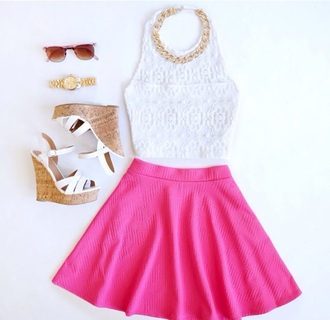 shirt top white lace top crop tops skirt jewels sunglasses blouse summer top pink wedges fashion style pinterest tank top