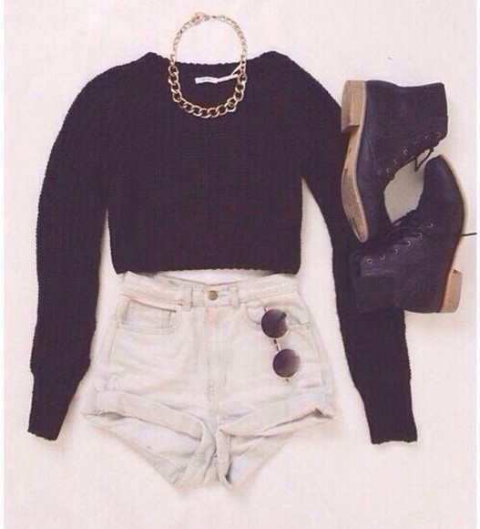 sweater shorts black jumper black sweater shoes cosy winter jumper jewels
