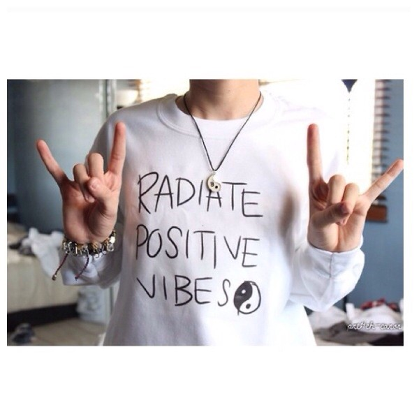 sweater radiate positive vibes