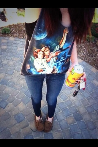 star wars soft grunge grunge hipster acacia brinley geek geeky black tank top blue black shirt science fiction jeans shirt