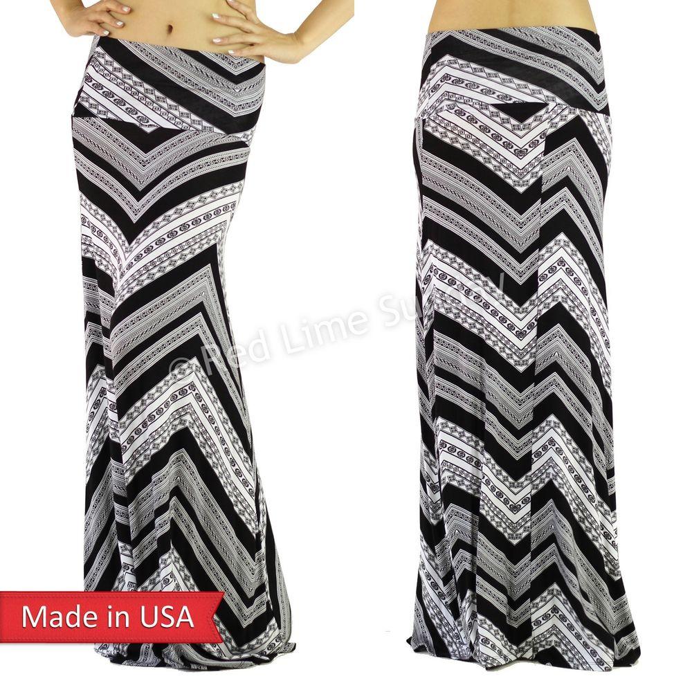 Women Geometric Chevron Zigzag Stripe Ethnic Print Fold Over Long Maxi Skirt USA