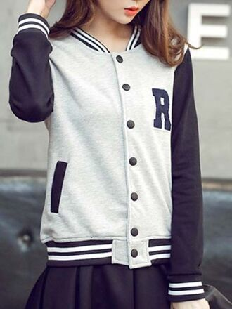 cardigan fashion style cute grey black fall outfits winter outfits sporty baseball jacket stripes asian fashion