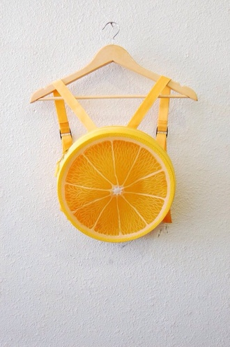 vintage bag fruit orange roundy backpack