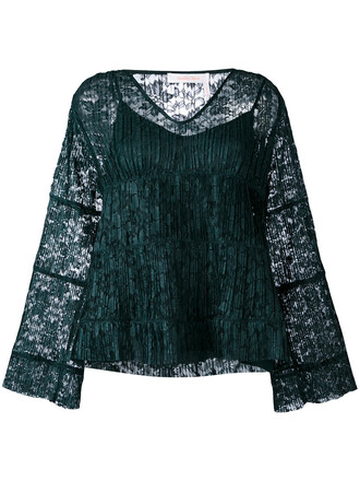 top women layered lace green