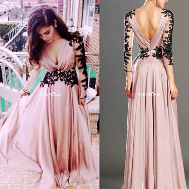 dress, pink prom dress, pink evening dress, black and pink dress ...