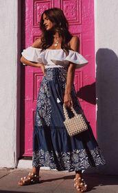 blouse,top,off the shoulder,off the shoulder top,rocky barnes,instagram,sandals,maxi dress,maxi skirt,blogger,blogger style,bodysuit,skirt,denim skirt,bag,shoes