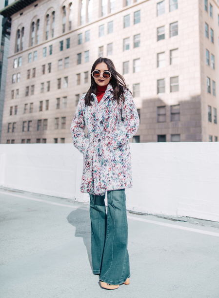 coat tumblr printed coat denim jeans blue jeans flare jeans sunglasses 70s style multicolor