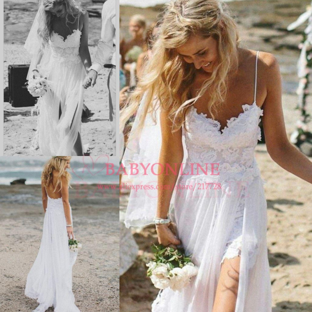 Aliexpress.com : Buy 2014 Boho Sexy Spaghetti Straps Wedding&Events Popular Low Back Lace Beach Wedding Dress Backless Floor Length Free Shipping from Reliable wedding dresses straps suppliers on Suzhou babyonline dress Factory