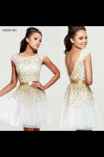 sherri hill. white short dress with gold sparkles and open back ...
