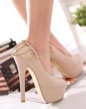 shoes,tan or beige high heels