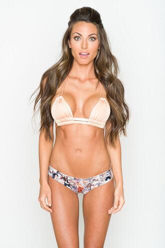top bikini delivery bikini top halter top montce swim montce swimwear peach pink tan triangle bikiniluxe