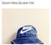 hat,nike,denim,bucket hat,jeans