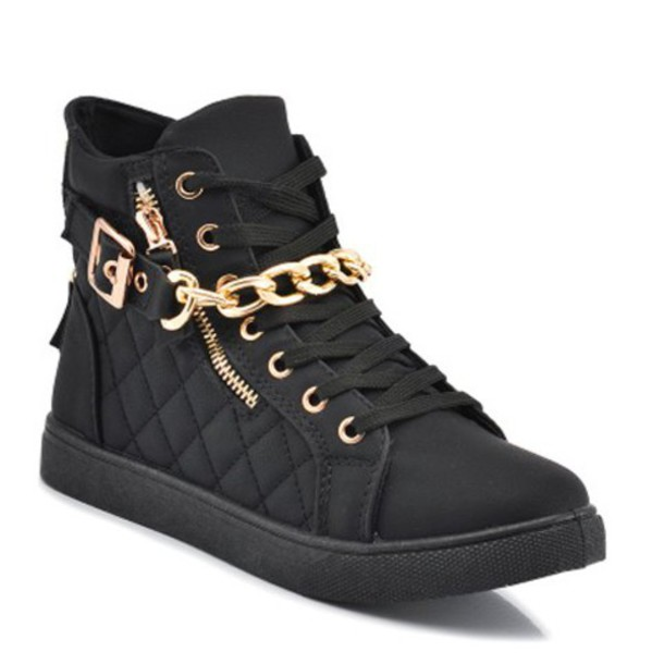 Shoes: black, high top sneakers, sneakers, gold, chain ...