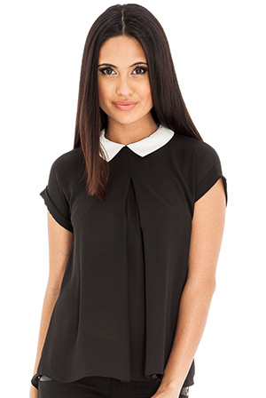 Contrast Collared Blouse