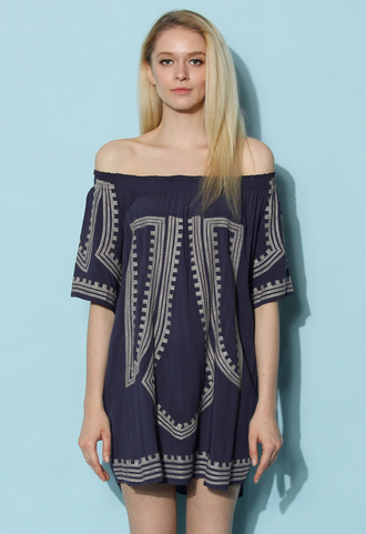 dress chicwish boho all the way tunic in navy boho dress navy dress spring dress summer dress chicwish.com