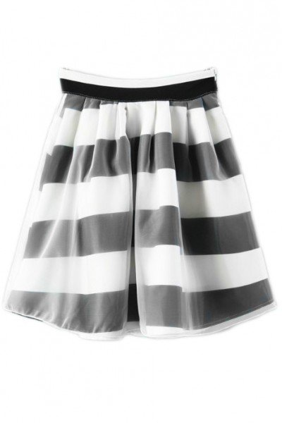 KCLOTH Striped Organza Skater Skirt