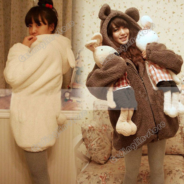 Hot Fashion Womens Ladies Long Sleeve Winter Bear Fleece Hoodie Faux Fur Jacket Coat Parkas Overcoat Size M Free Shipping 0060-in Basic Jackets from Apparel & Accessories on Aliexpress.com