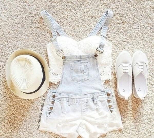 shorts white shirt jeans overalls denim overalls acid wash blouse
