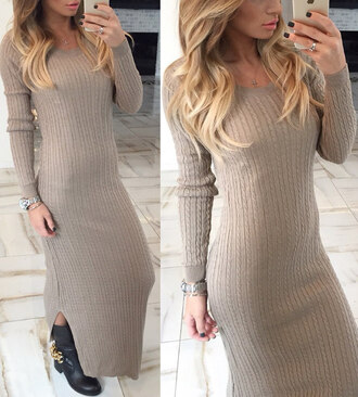 dress sweater sweater dress beige beige dress boho dress dress corilynn maxi dress prom dress midi dress knitwear knitted sweater knitted dress outfit outfit idea summer outfits fall outfits tumblr outfit winter outfits polo sweater polo neck tumblr tumblr girl tumblr clothes tumblr sweater girly wishlist dope wishlist hipster wishlist skinny bodycon dress bodycon midi skirt long dress
