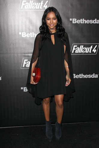 dress clutch karrueche ankle boots boots little black dress all black everything bag scarf shoes