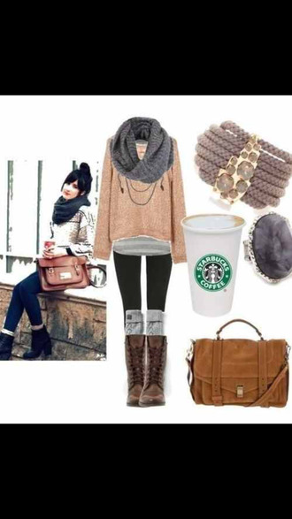 sweater shoes jeans brown boots scarf starbucks coffee cozy grey stripes jumper pink jumper bag shoulder bag boots kneehigh socks knee high boots
