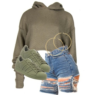 sweater army green cropped sweater