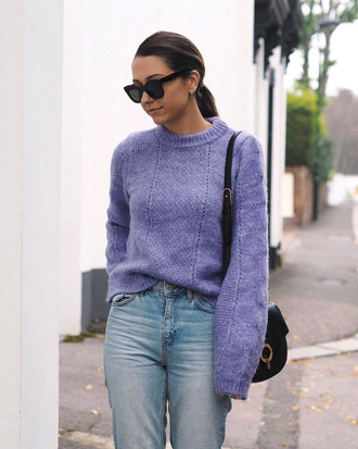sweater tumblr knit knitted sweater lilac bag black bag sunglasses denim jeans blue jeans