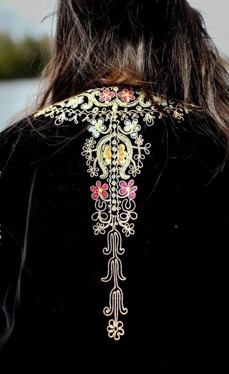 jacket embroidered velvet folk black jacket embellished jacket