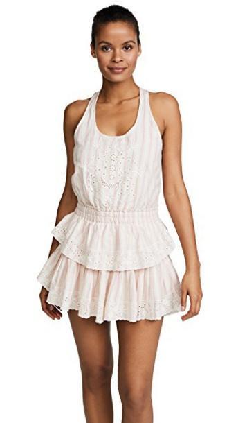 LoveShackFancy dress mini dress mini ruffle tan pink