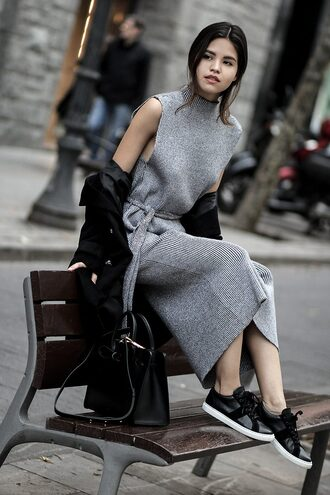 fake leather blogger sweater dress coat shoes bag jewels sweater dress knitted dress sneakers handbag black bag winter outfits grey knit dress