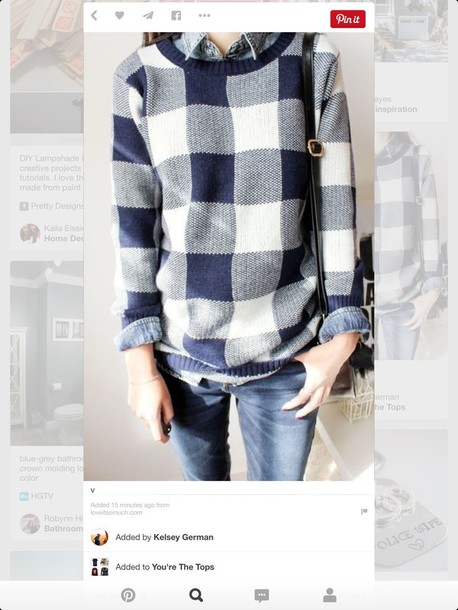 sweater blue plaid