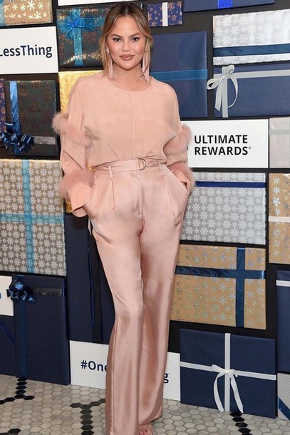 top blush blush pink chrissy teigen celebrity pants blouse feathers