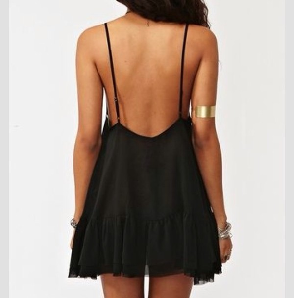 dress black low back dress