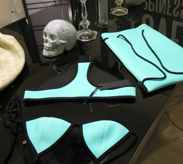 swimwear aqua and black