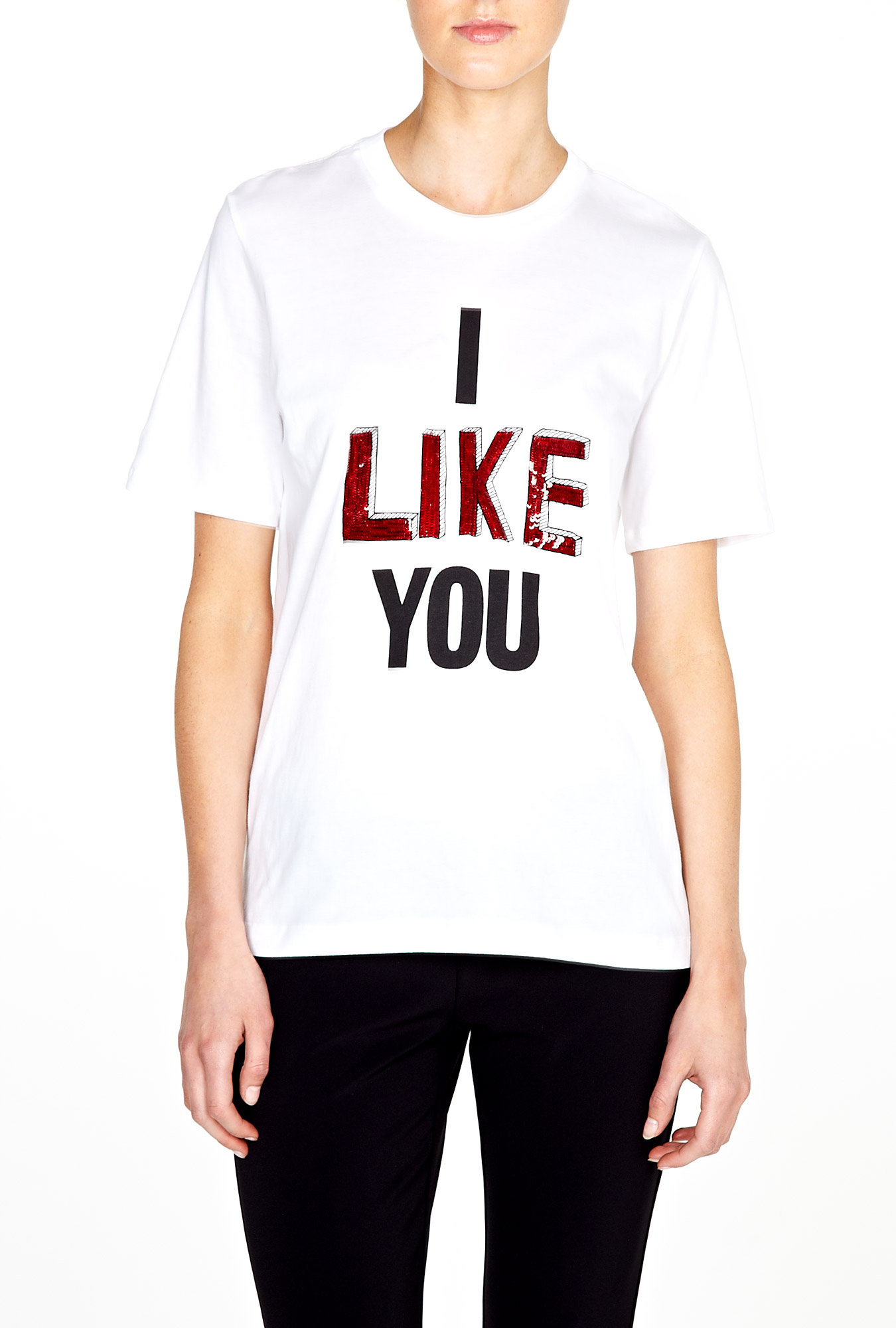 Markus Lupfer | I Like You Embroidered Sequin Tee by Markus Lupfer