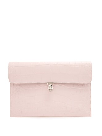 leather clutch skull clutch leather crocodile light pink light pink bag