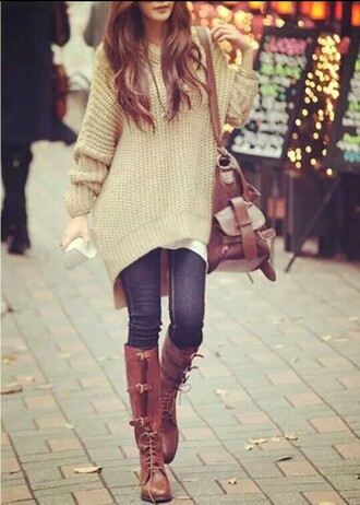 shoes brown boots sweater shoulder tote bag bag mustard jumper yellow ripped jeans
