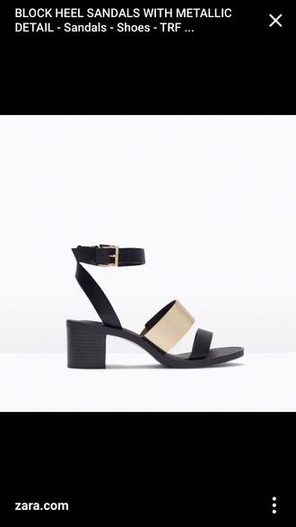 shoes zara black gold metallic block heel summer out of stock size 5