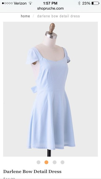 dress spring backless light blue open back bow