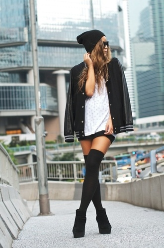 socks white shirt baseball jacket black beanie black knee socks blogger black boots