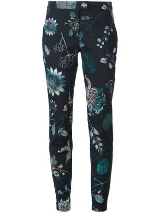 women spandex floral cotton print black pants