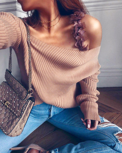 top cut-out cut-out ribbed top nude top off the shoulder bag sweater