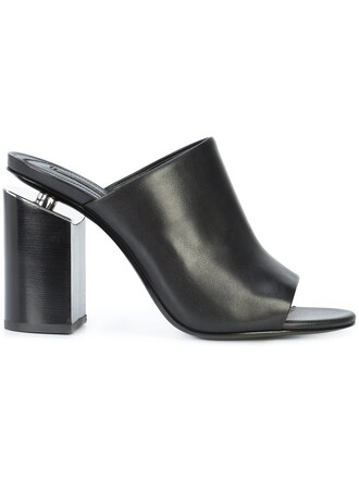 heel high heel high women mules leather black shoes