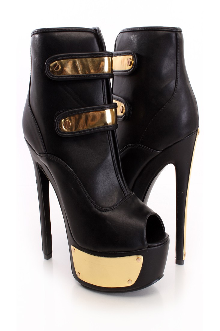 Black Peep Toe Platform Booties Faux Leather
