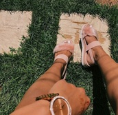 shoes,pink furry sandals,sandals,platform sandals