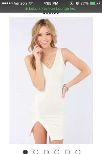 dress white white dress short dress graduation dress slit dress casual dress bodycon dress